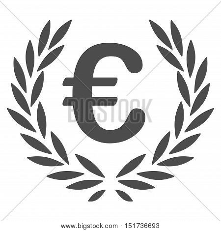 Euro Laurel Wreath icon. Vector style is flat iconic symbol, gray color, white background.