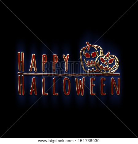Happy Halloween lettering greeting card. Horizontal banner with sinister pumpkins isolated on black background. Cartoon style. 3D illustration. Gold red glass and enamel texture with a blue backlight