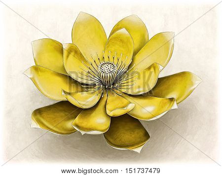 Illustration of a lotus flower  with solar plexus chakra color yellow.
