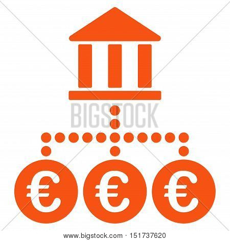 Euro Bank Transactions icon. Vector style is flat iconic symbol, orange color, white background.