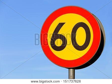 Swedish road sign speed limit 60 km/h.