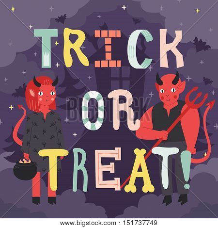 Trick or treat Halloween illustration with cartoon letters devils and scary house.