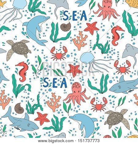 Vector seamless pattern. Hand drawn doodle set of sea life