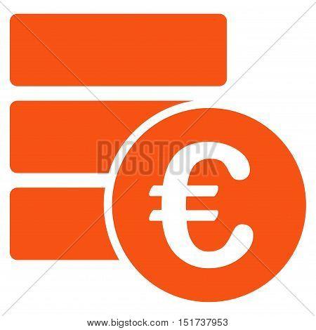 Euro Database icon. Vector style is flat iconic symbol, orange color, white background.