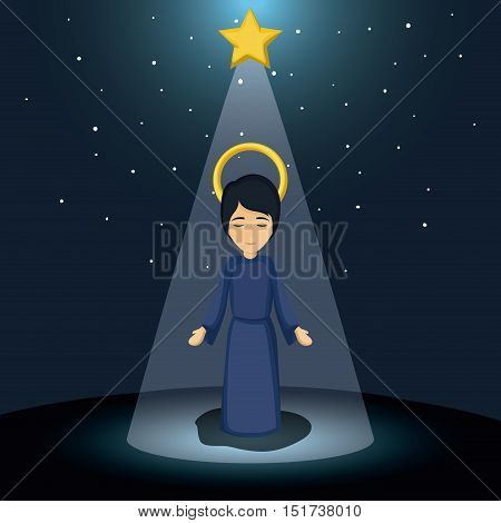 Jesus kid cartoon icon. Holy family and merry christmas season theme. Colorful design. Vector illustration