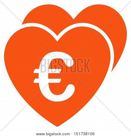 Euro Favorites Hearts icon. Vector style is flat iconic symbol, orange color, white background.