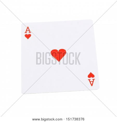 Ace of hearts isolated on white background.