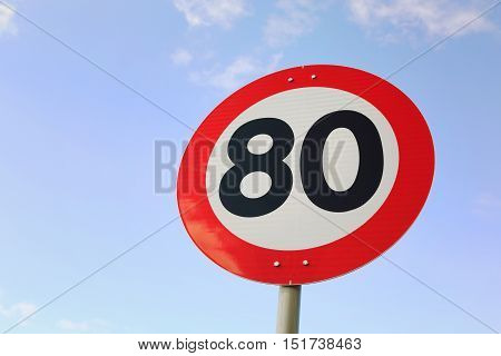 Speed limit 80 km / h on road in Norway.