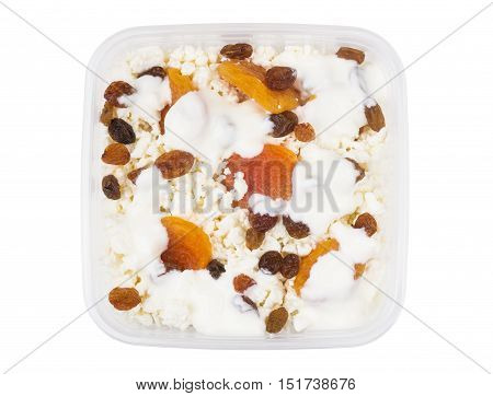 Cottage Cheese With Dried Apricots, Raisins And Yogurt