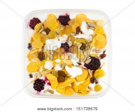 Muesli With Pineapple, Raisins, Raspberry, Dried Apricots And Yogurt