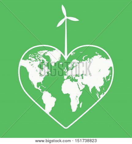Ecologic Heart - Ecological Heart - Eco Heart - Save The Planet Logo -  Flat Vector Illustration Stock