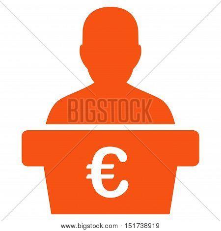 Euro Politician icon. Vector style is flat iconic symbol, orange color, white background.