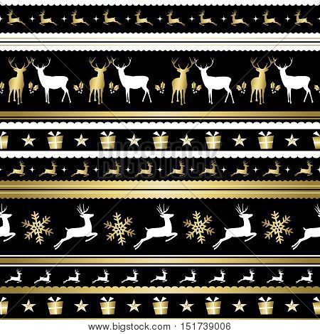 Gold Christmas Holiday Deer Decoration Pattern