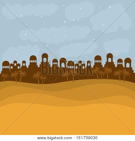 Bethlehem silhouette icon. Holy family and merry christmas season theme. Colorful design. Vector illustration