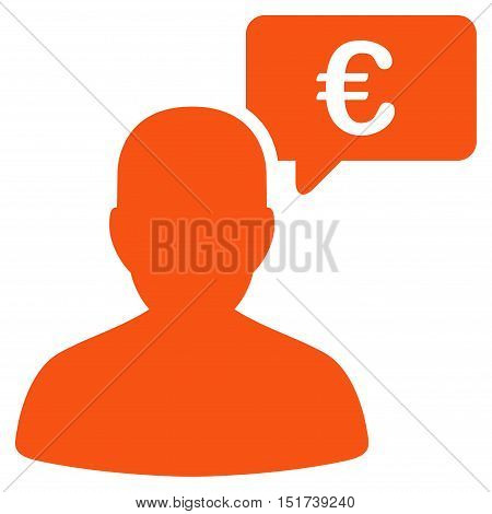 Euro User Opinion icon. Vector style is flat iconic symbol, orange color, white background.