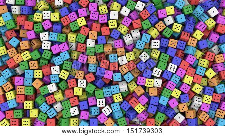Tens of random color dice. 3d rendering