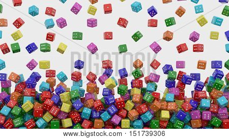 Tens of colored dice falling. 3d rendering