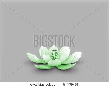 Illustration of a lotus flower  with heart chakra color green.