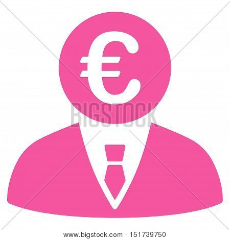 Euro Clerk icon. Vector style is flat iconic symbol, pink color, white background.