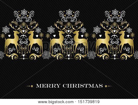 Merry Christmas seamless pattern gold reindeer ornament art and winter holiday decoration background. EPS10 vector.