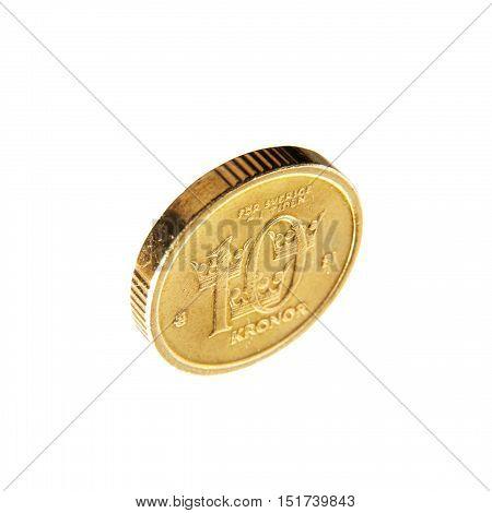 Swedish coin 10 krona isolated on white