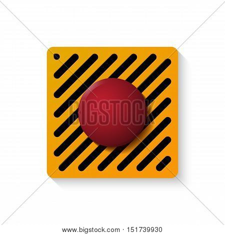 Launch button isolated over white. Vector illustration of red start control.