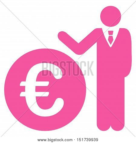 Euro Economist icon. Vector style is flat iconic symbol, pink color, white background.