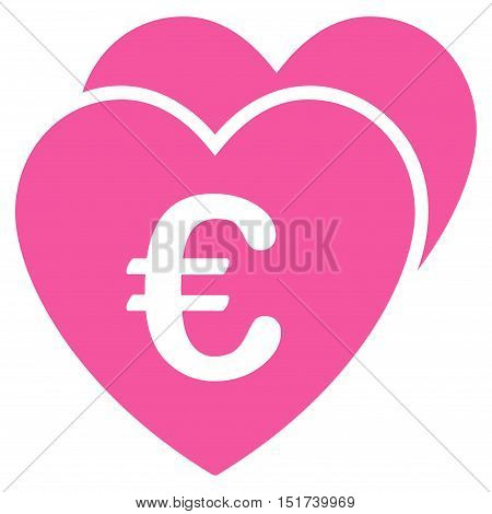 Euro Favorites Hearts icon. Vector style is flat iconic symbol, pink color, white background.