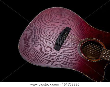 Acoustic Guitar Red body close up on black background
