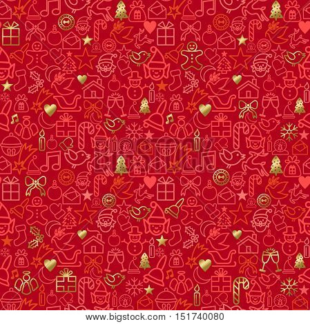 Gold Christmas Outline Icon Seamless Pattern