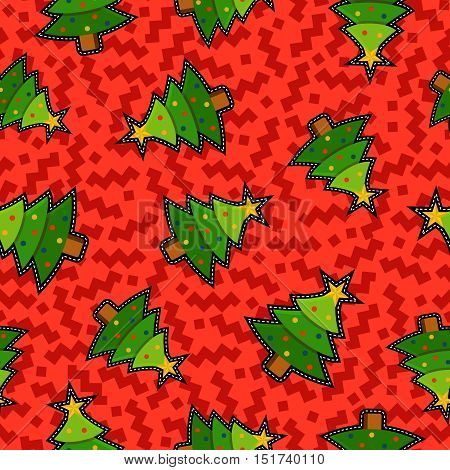 Christmas Pine Tree Patch Icon Pattern Background