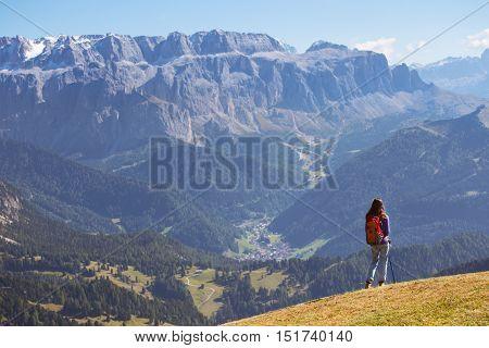 Tourist Girl At The Dolomites