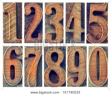 a set of isolated ten numbers from zero to nine in letterpress wood type printing blocks