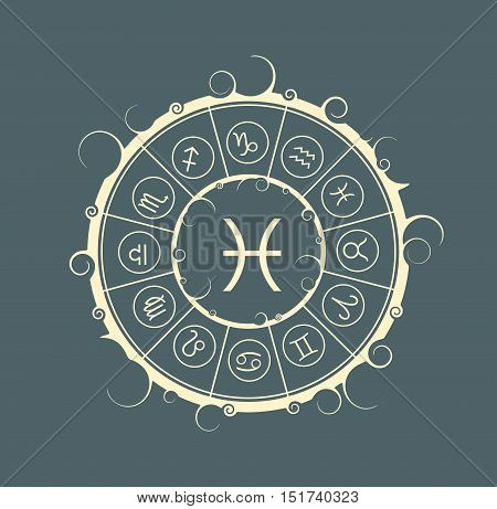 Astrological symbols in the circle. Vector illustration. Fish sign