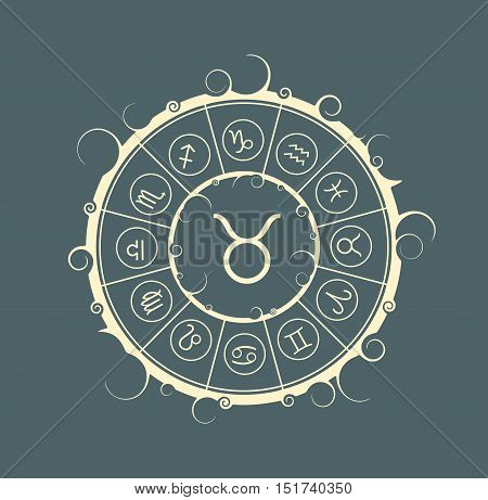 Astrological symbols in the circle. Vector illustration. Bull sign