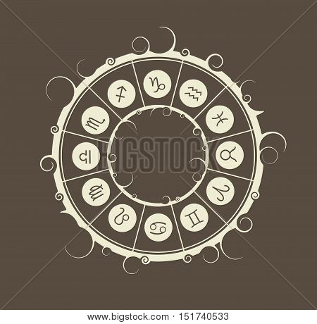 Astrological symbols in the circle. Vector illustration