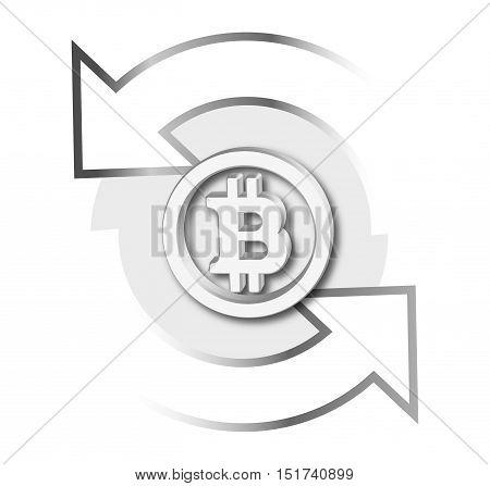 3D Bitcoin Icon with Exchange Concept Design