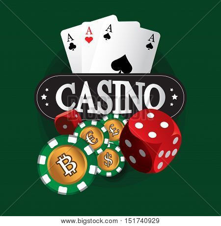 Casino Coin Design on the green background.