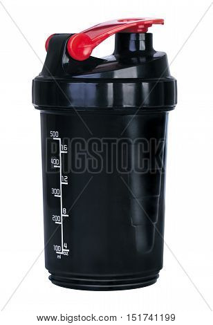 Black plastic fitness shaker on white background