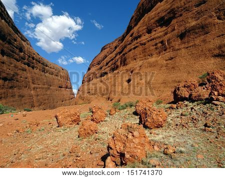 Photograph taken inside the Olgas, also known as Kata Tjuta in the Northern Territory in Australia. These shale domes are located 365 km southwest of Alice Springs.