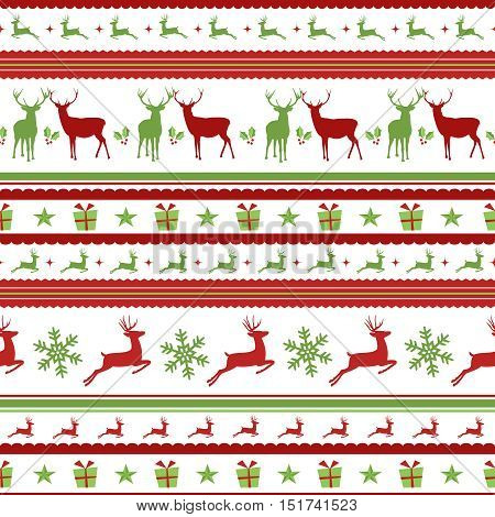 Christmas Pattern With Retro Deer Decoration