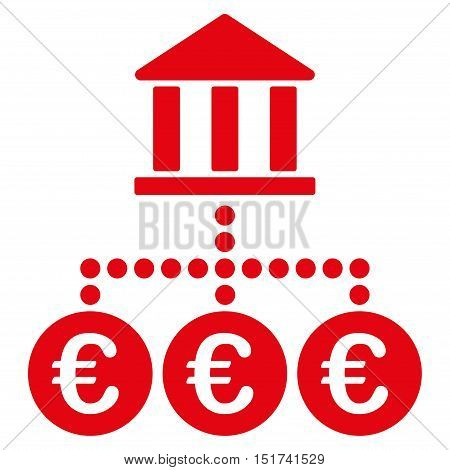 Euro Bank Transactions icon. Vector style is flat iconic symbol, red color, white background.