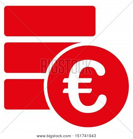 Euro Database icon. Vector style is flat iconic symbol, red color, white background.