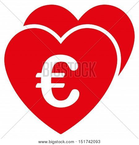 Euro Favorites Hearts icon. Vector style is flat iconic symbol, red color, white background.