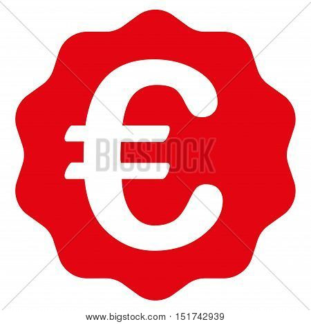 Euro Reward Seal icon. Vector style is flat iconic symbol, red color, white background.