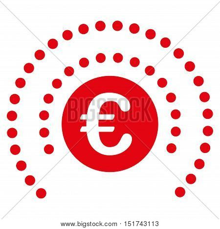 Euro Shield Sphere icon. Vector style is flat iconic symbol, red color, white background.