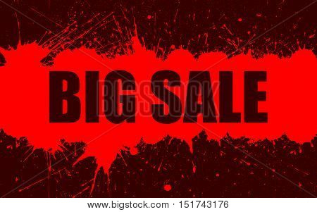 Vector Sale Banner With Bright Ink Red Color Blots over Dark Red Background. Each element separate on layers for easy use and recolor. Background for business, sale, trade and other promo designs.