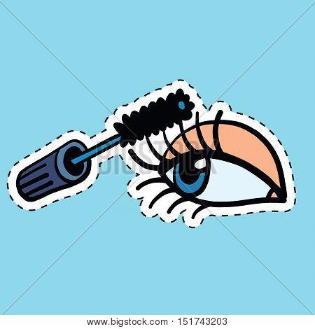 Woman applying mascara on her long eyelashes, pop art comic vector illustration. Sticker label. Beauty and make-up