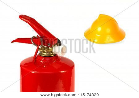 Fire Extinguisher And A Fire Helmet