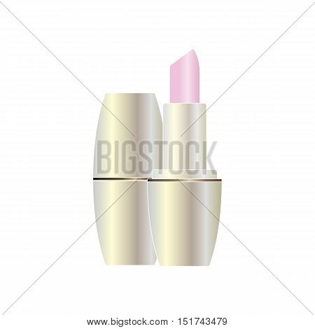 Soft pink lipstick in pearl color design close up isolated on white background